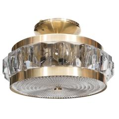 Flush Mount Chandelier with Textured Glass and Brass Fittings by Orrefors