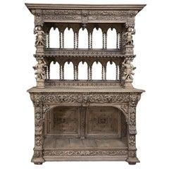19th Century Flemish Renaissance Stripped Oak Buffet ~ Vaisselier