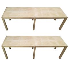 Pair of Cerused-Oak Parquetry Benches