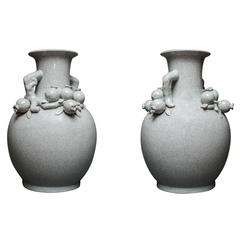 Pair of Chinese Crackle Vases with Pomegranates