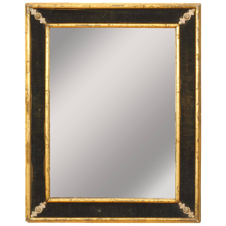 French Baroque Style Giltwood and Velvet Mirror, Late 19th Century