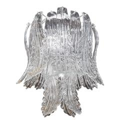 Exquisite Chandelier with Stylized Murano Glass Leaves by Barovier & Toso
