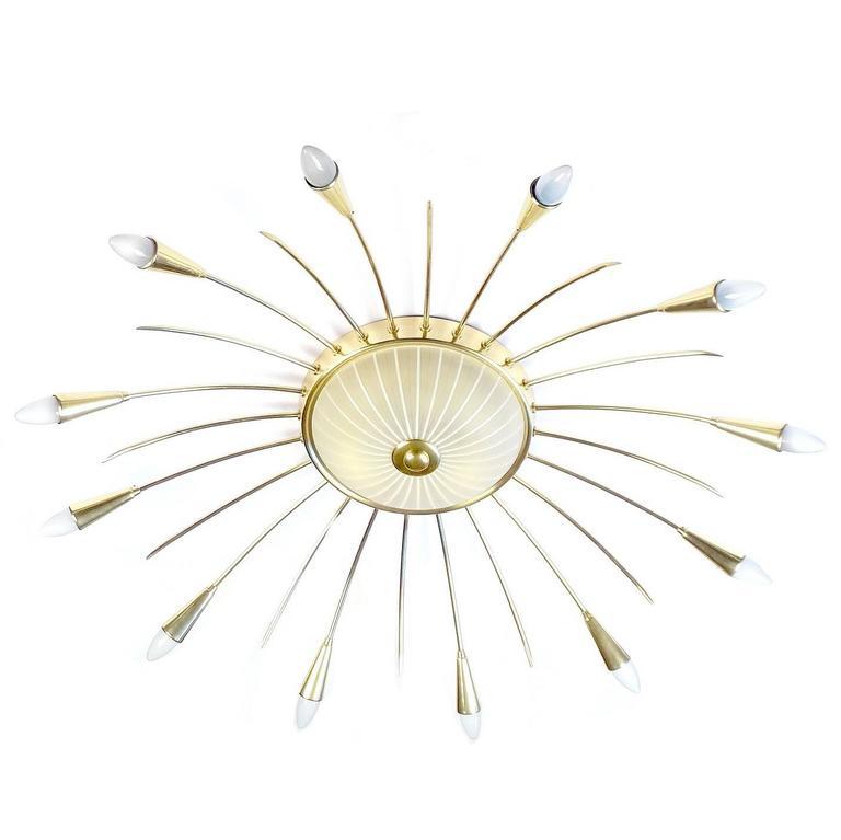 Large 13 Lights Sunburst Sputnik Chandelier, Brass Glass, Stilnovo Gio Ponti Era