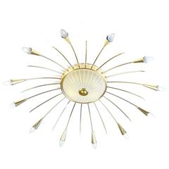 Large 13 Lights Sunburst Sputnik Chandelier, Brass Glass, Stilnovo Gio Ponti Era