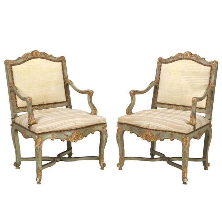Antique Italian Louis XV Style Armchairs in Original Paint