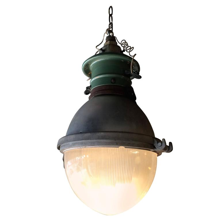 Rare Industrial Holophane Street Light Pendant