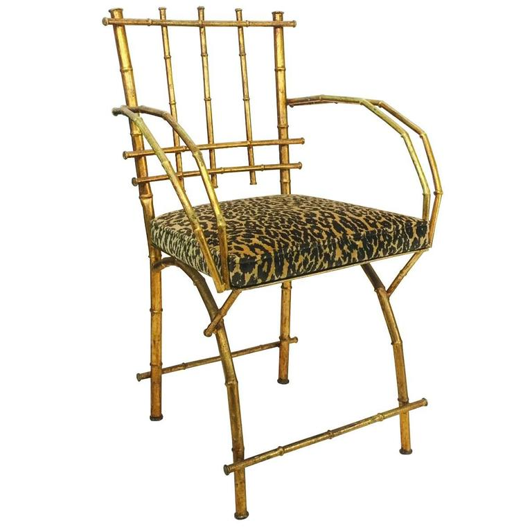 Gold Leaf Faux Bamboo Vanity Chair 1