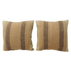 Tan and Brown Weave Textured Finish Decorative Pillows