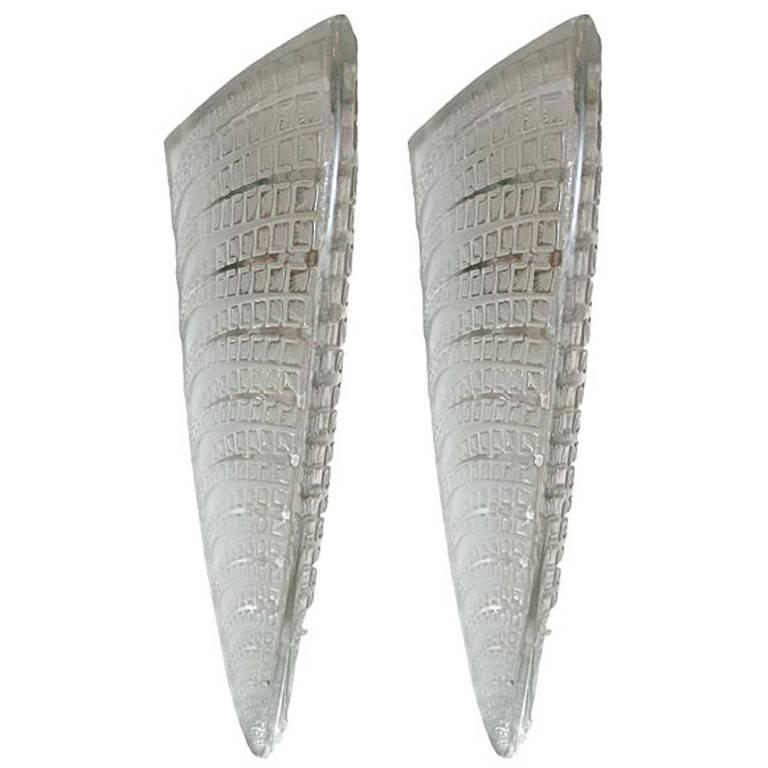 """Pair of """"Fougers"""" Art Deco Wall Sconces by Rene Lalique"""