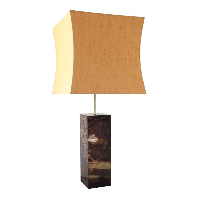 Large Laque D'ambre Table Lamp in Style of Maison Jansen, France, 1970s