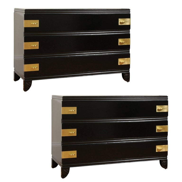Gorgeous Restored Three-Drawer Chest by Widdicomb in Black Lacquer