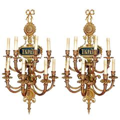 Very large antique PAIR OF 1940  bronze SCONCES