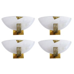Italian Murano Half Moon Glass Sconces