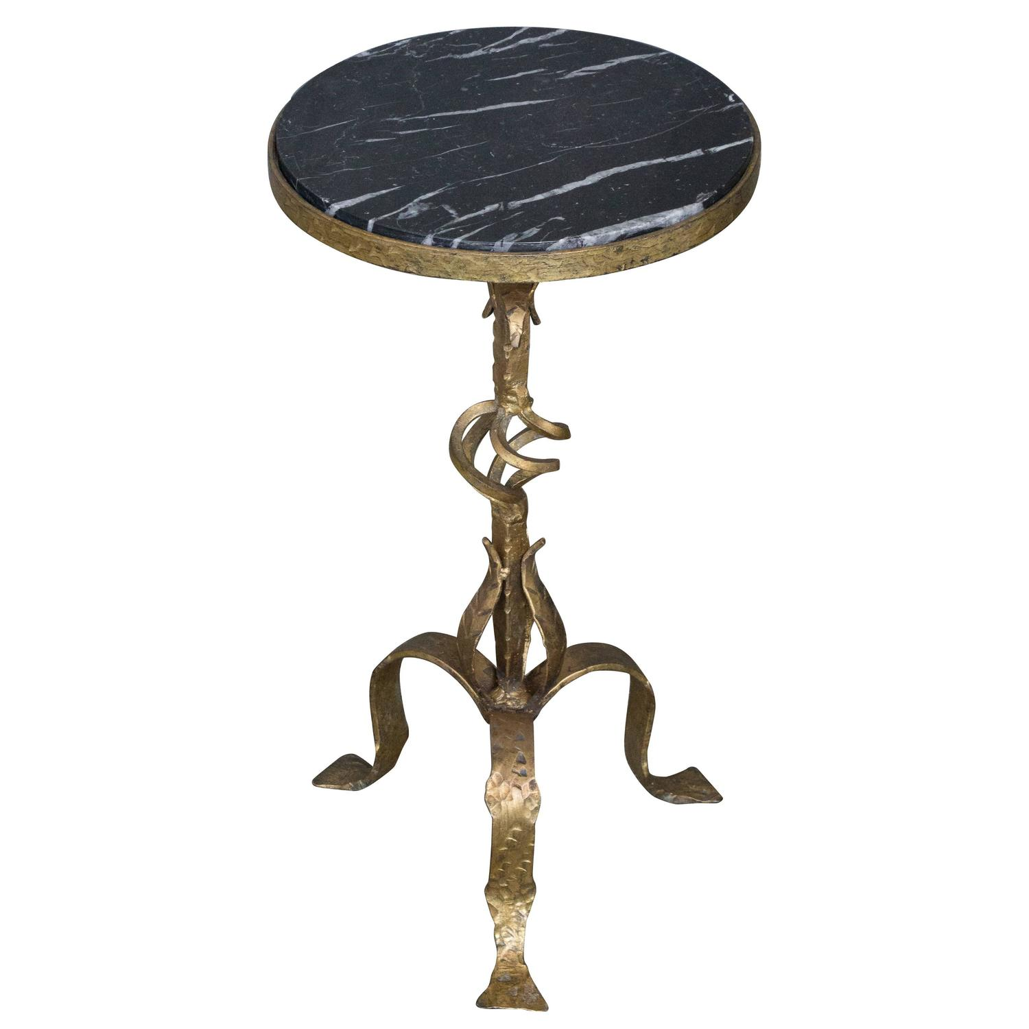 Small Gilt Iron Side Table With Marble Top For Sale At 1stdibs