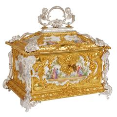 Louis XVI Style Silvered and Gilt Bronze Mounted KPM Porcelain Casket