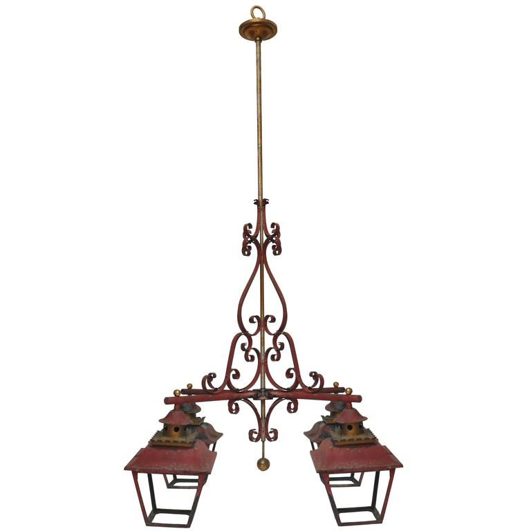Large-Scale French Chinoiserie Style Four Lantern Hanging Light