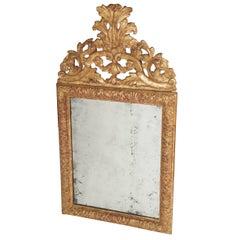 Baroque Carved Giltwood Mirror with Original Plate, Denmark, circa 1700