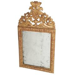 Baroque Carved Giltwood Mirror with Original Plate, Denmark, circa 1700