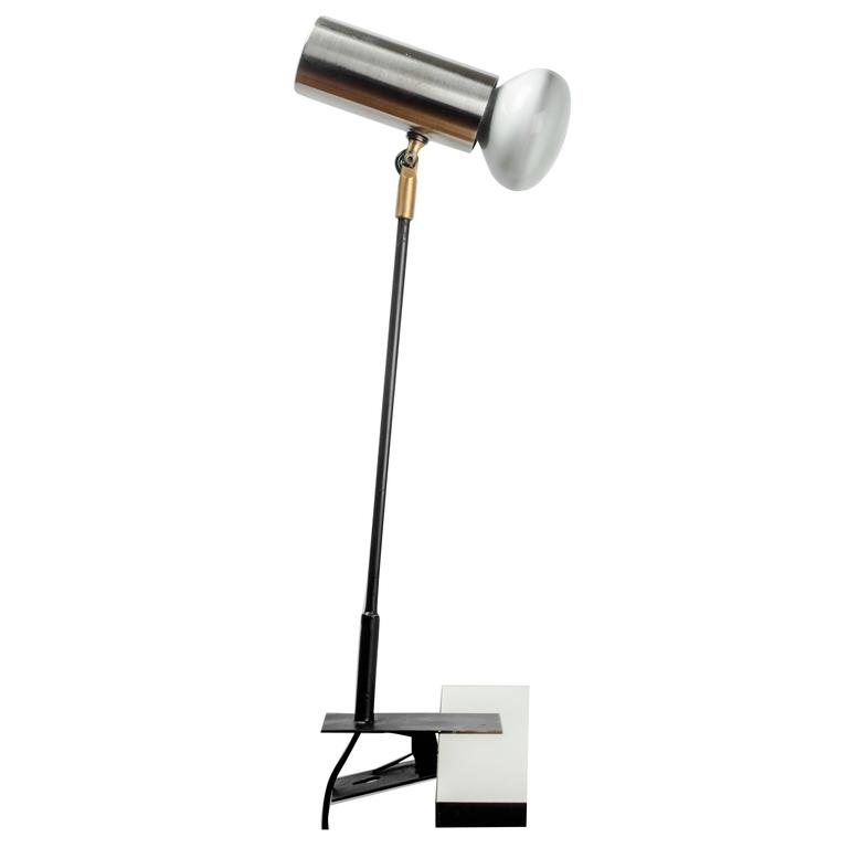 French Desk Lamp in Brushed Aluminum with Clamp, 1950s