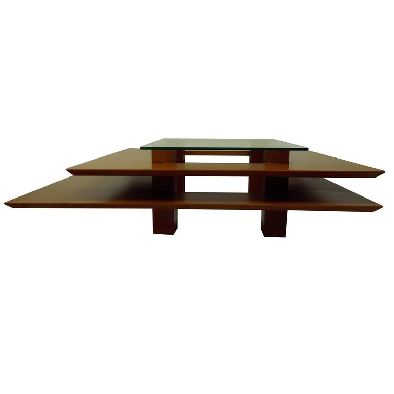 Three Tier 1990s Vintage French Modern Coffee Table By Clemmer Heidsieck For Sale At 1stdibs