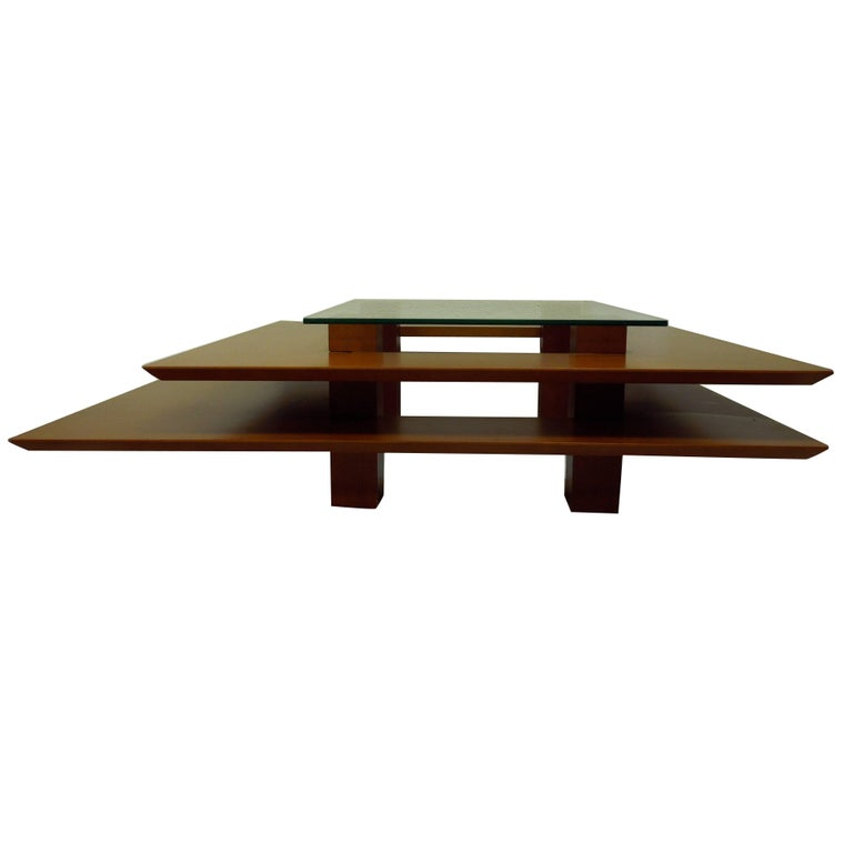 Three-Tier 1990s Vintage French Modern Coffee Table by Clemmer Heidsieck For Sale