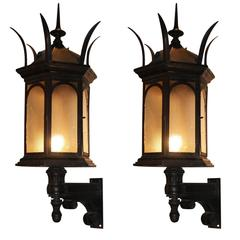 1905 Pair of Cast Iron Lantern Sconces with Spike Finials and Textured Glass