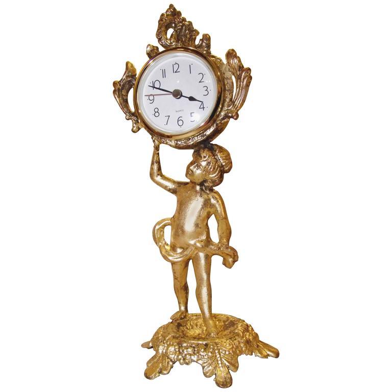 Antique Cherub Clock, Desk Accessory,Vanity Accessory ... Antique Table Clocks