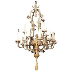 Antique Bronze And Brass Chandelier By E F Caldwell For