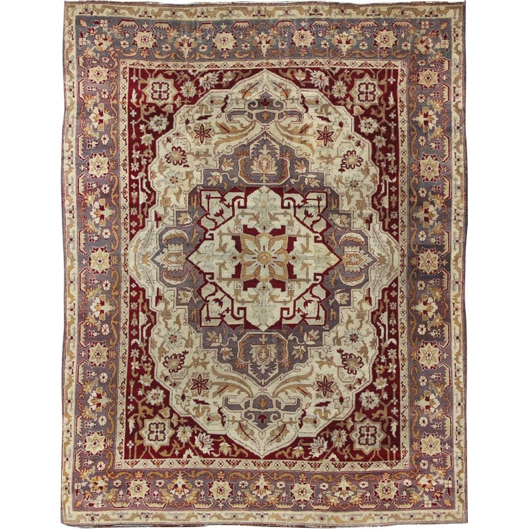 Deep Burgundy Indian Agra Rug For Sale At 1stdibs: Antique 19th Century Indian Agra Carpet For Sale At 1stdibs