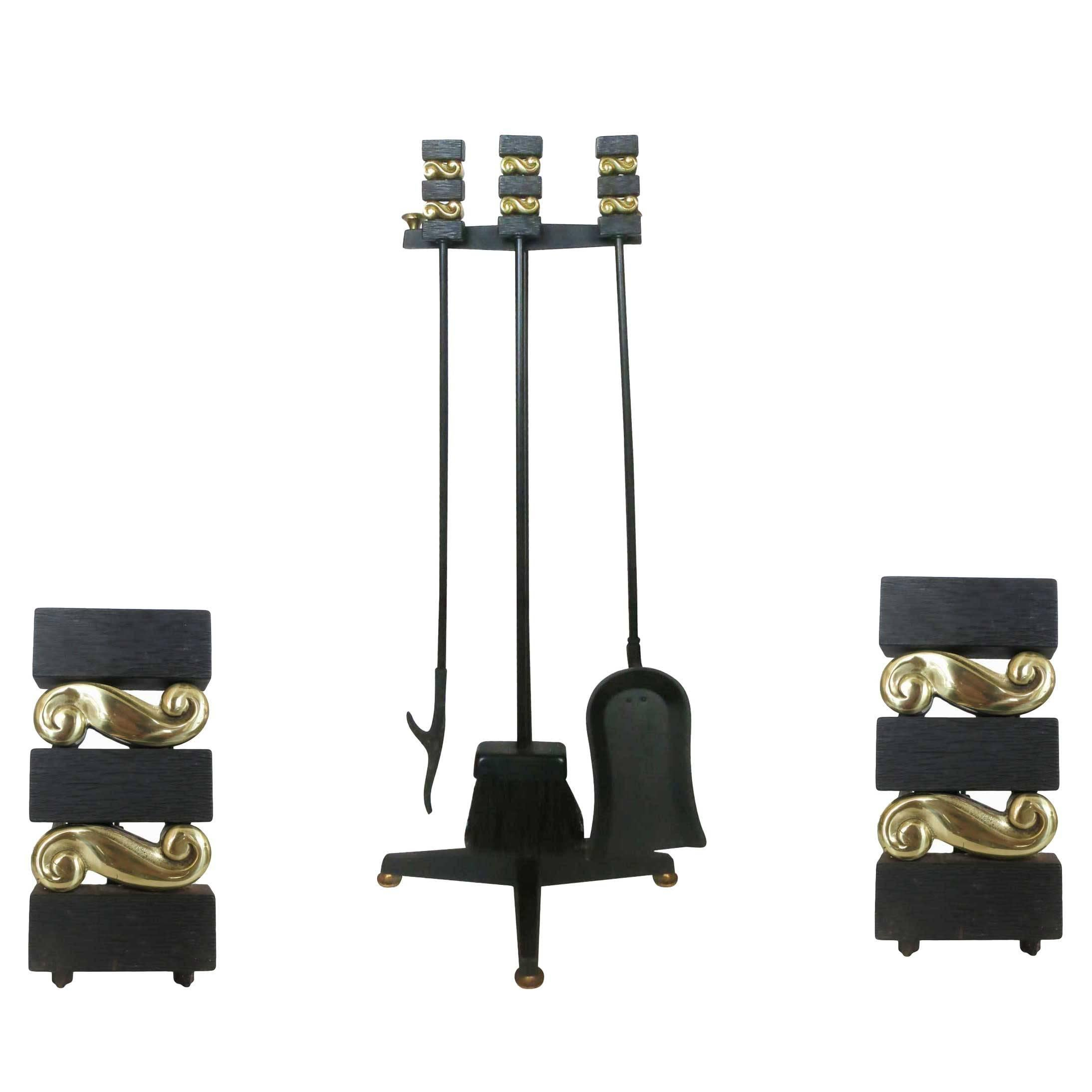 Donald Deskey Andirons and Fireplace Tools by Bennett Co