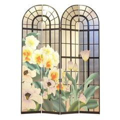 French Mid-Century Multicolor Painted Floral Jungle Room Divider, Screen