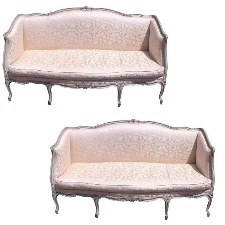 Pair of French Hand Carved & Painted Silk Sofas. Signed Carpentier. Circa 1780