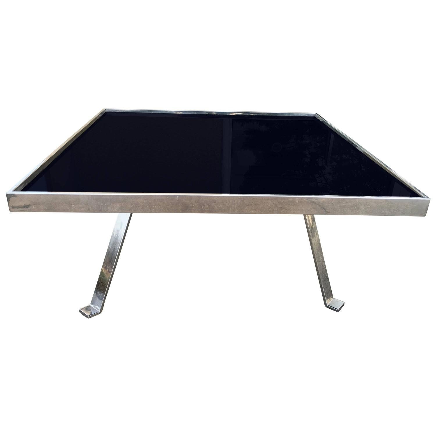 Chrome And Black Glass Cocktail Table For Sale At 1stdibs