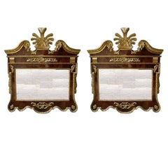 Pair of English Chippendale Burled Walnut Gilt Mirrors.  Circa 1770