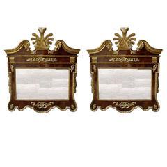 Pair of English Chippendale Burled Walnut Gilt Mirrors.  Circa 1770