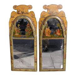 Pair of Rare English Chinoiserie Eglomise Mirrors.  Circa 1740