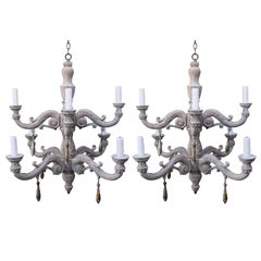 Pair of Eight-Light Two-Tier Wood Chandelier with Gilt Drops