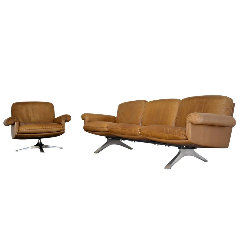 Vintage De Sede DS 31 Sofa and Swivel Lounge Club Armchair, Switzerland 1970s For Sale