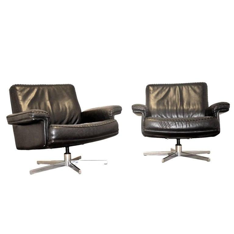 Vintage De Sede DS 35 Executive Swivel Lounge Armchairs, 1970s
