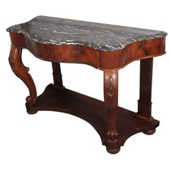Serpentine Console of Mahogany with Marble Top from Italy