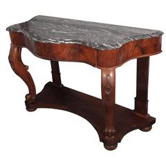 Serpentine Console of Mahogany with Marble Top