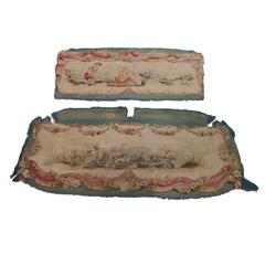 Set of 2 Antique Aubusson Settee Tapestries Back and Bottom Cover