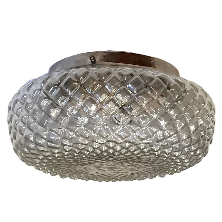 Flush Mounted Glass Light Fixture For Sale