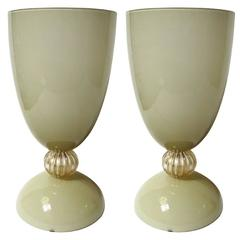 Italian Dark Cream Murano Glass Urns or Vases