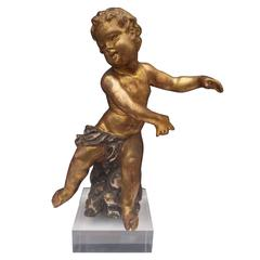 Carved Giltwood Cherub or Putti on Acrylic Base