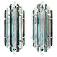 Set of 10 Murano Emerald Sconces by Venini