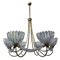 Italian Murano Glass And Brass Chandelier By Barovier