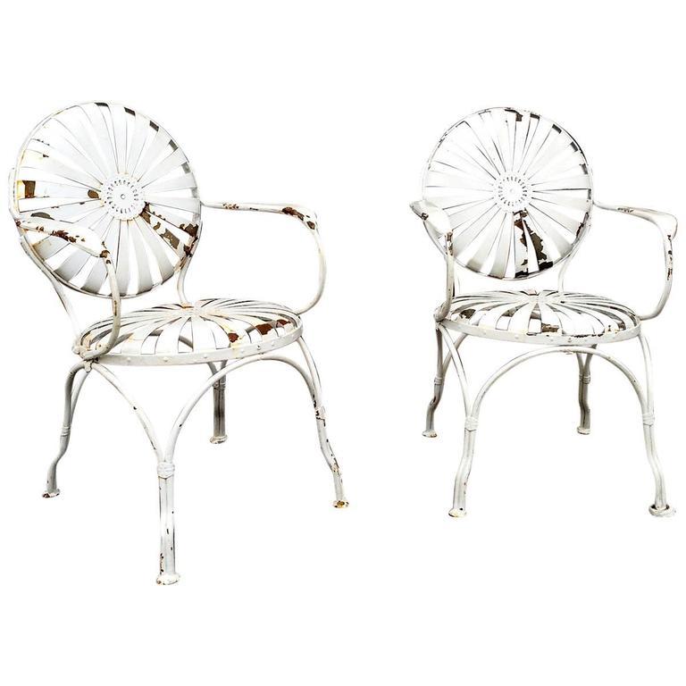 francois carr u00e9 french sunburst garden armchairs for sale at 1stdibs