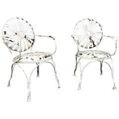 Francois Carré French Sunburst Garden Armchairs