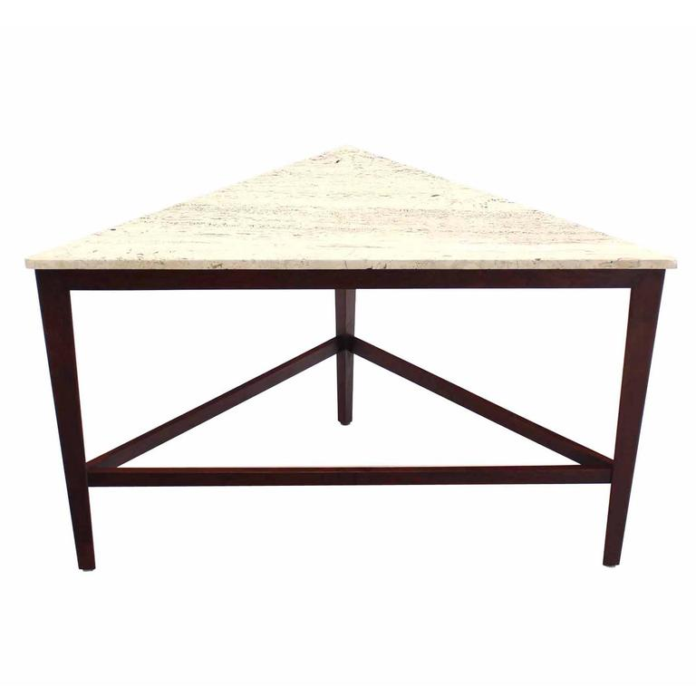Travertine Top Triangular Corner Table onTapered Legs